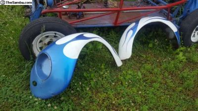 Pair of early style, aftermarket front fenders