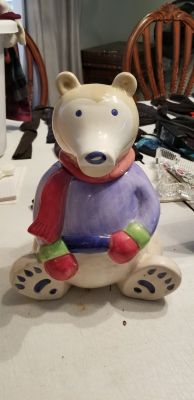Winter bear cookie jar