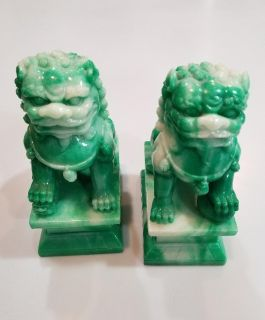 Green and white marble Foo Dog bookends