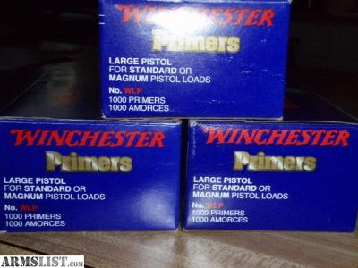 For Sale: 3000 WINCHESTER LARGE PISTOL WLP PRIMERS