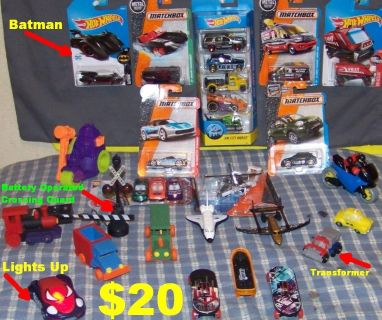 Mix of 27 New & Slightly Used Cars, Helicopter, Planes, Superheroes, Working Crossing Guard, & Mor