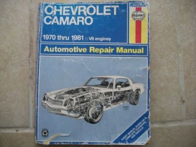 Buy 24015 (554) Haynes Repair Manual Chevy Camaro 1970-81 V8 Engines-automotive motorcycle in Golden Valley, Arizona, United States, for US $5.20