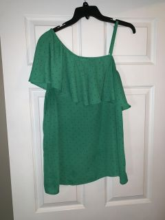 Super cute Black polkadot green off the shoulder blouse.