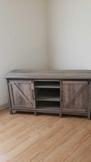 Rustic gray TV stand