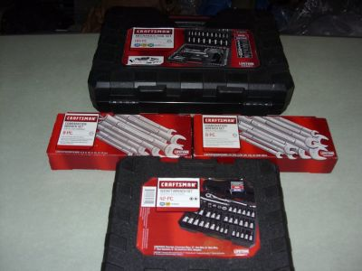 165 PC. TOOL SET & 100 PC. 42 PC. SOCKET WRENCH SET & TWO 8 PC. WRENCH SETS