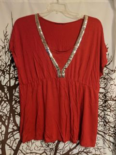 Red top with silver sequins women's plus size 1X