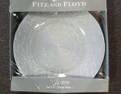 CLEARANCE SALE!! NEW Fitz and Floyd set of 2 Silver Glass Chargers
