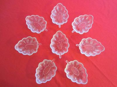 8 Glass Leaf Shape Dishes Vintage Depression Glass Relish, Candy, Dessert Bowls