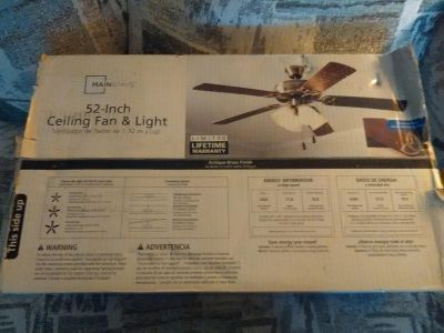 New in box MAINSTAYS ceiling fan & light. Never opened.