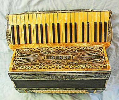 Antique Hohner Accordion Jewels Incrusted Fancy