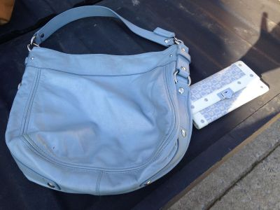 Coach purse with lovecat wallet. Cleaning closet out