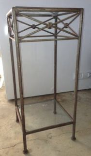 Wrought Iron Table with Glass Top and Bottom Glass Shelf
