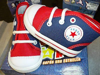 toddler canvas high top tennis shoes-laces-new in box-red/white/blue
