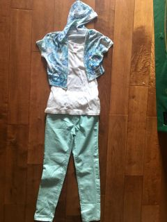 Girl s Outfit! Justice Top & Cat & Jack Pants. Great Condition! Adjustable waist. SZ 10 Pants shimmer! Take all for $3.50