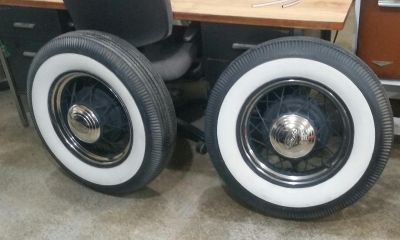 Pair of Model A wheels and tires