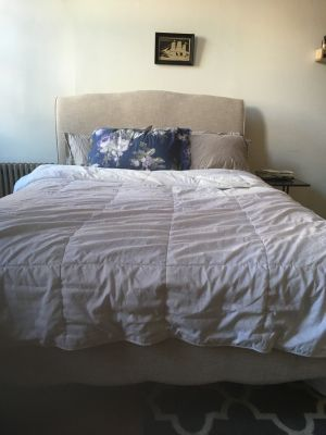 Linen Bedframe, Headboard, and Casper Mattress,