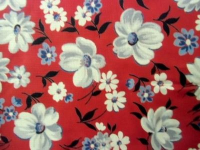 "19th c antique cotton fabric red with peonies 160"" x 40"""