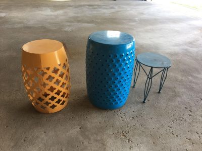 2 garden stools and 1 plant stand