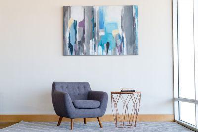 Mid Century Modern Polk Lounge Chair Seaside Grey