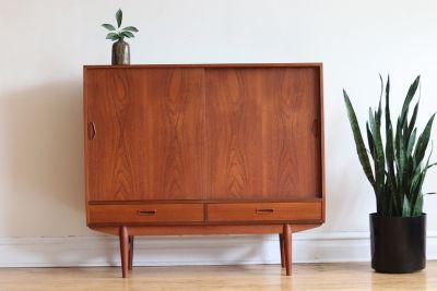 Mid Century Modern Tall Angled Danish Sideboard