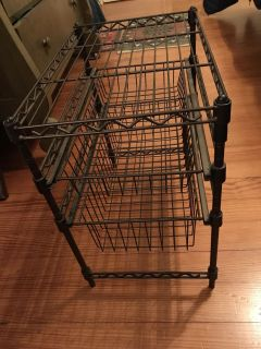 Metal Stand With Two Pull Out Baskets