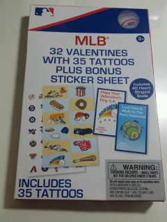 RARE MLB Valentines Day Cards (box of 32) with 35 tattoos plus sticker sheet Major League Baseball