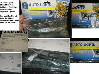 Christmas Clear Auto Lights For Your Car / Truck ~ Powered By 12V Adapter (Cig Plug Thing)