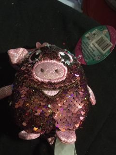 Sequined pig key chain or purse fob nwt can change color