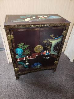 Handpainted old world flare cabinet
