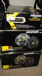 Kicker 2-12's and 500w amp new in box