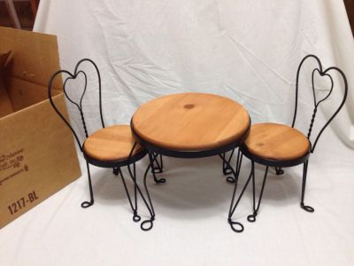 """Wood and Metal table and chairs for decor. Doll size. Table is 10"""" tall."""