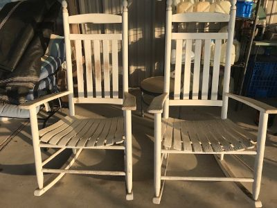 Pair of Large White Rocking Chairs