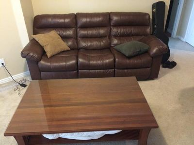 $200, Reclining leather couch and coffee table