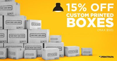 Get 15% Off on Custom Printed Boxes of Different Size, Style, and Number