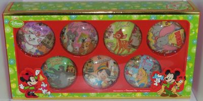 Retired Set of 7 Disney Store Christmas Ornament Deck the Halls Bambi Alice Jungle Book