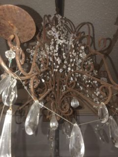Old shabby chic cast iron Chandelier