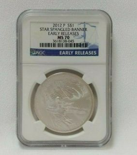 2012 p star spangled banner early releases silver dollar ms 70 ngc