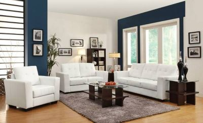 Bonded Leather 3 Piece Sofa Set