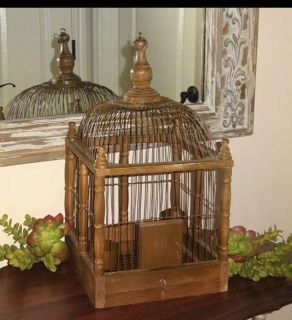 Large Vintage French Country Farmhouse Wood Birdcage