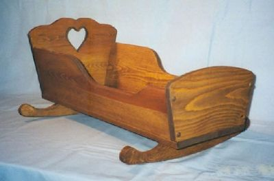 Traditional Wooden Doll Cradle Made By Hand in America