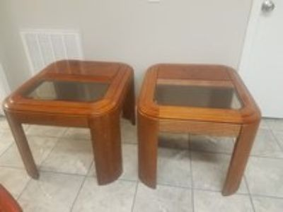 Real Wood Glass Top End Tables
