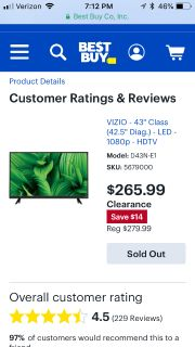 Brand new 43 Vizio tv