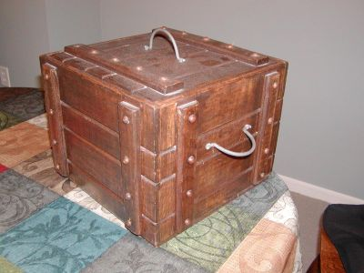 Wood Box with 2 handles and one on top - weighs 7.5 lbs. - removable lid - pirate's chest