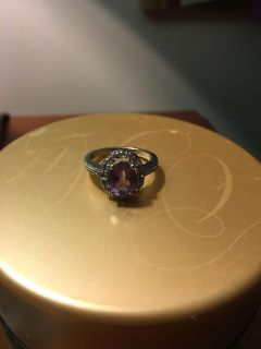Zales Oval Amethyst ring sterling silver size 8