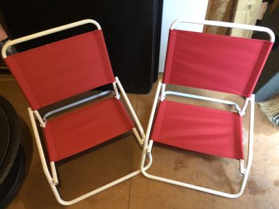 Target beach chairs. Retail $20 each. Selling $20 for both or $12 each. Folds flat for easy storage.