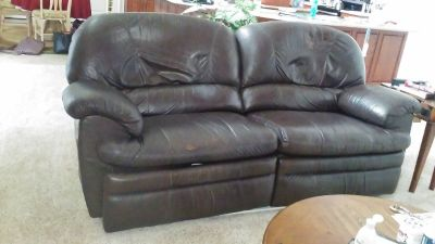 lazy boy recliner love seat, brown leather