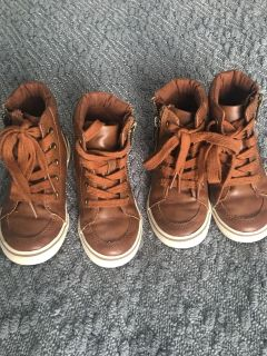 Cat and Jack size 8 brown leather shoes