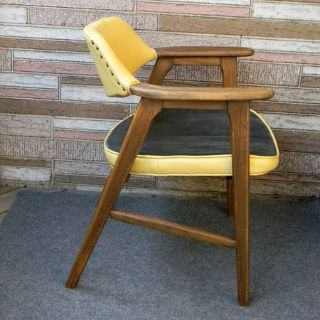 Mid Century Modern Yellow Vinyl Wood Paoli Chair