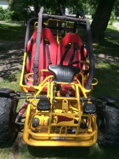 Yellow engine powered buggy