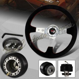Buy 350mm 6-Hole Black Leather Silver Spoke Deep Dish Steering Wheel+For Mustang Hub motorcycle in Walnut, California, United States